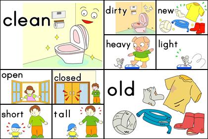 形容詞・反対語のカード2