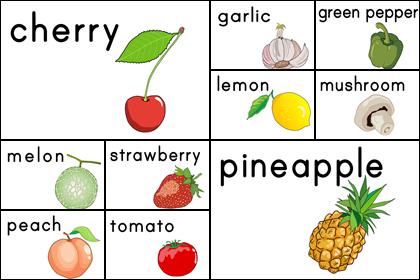 野菜・果物のカード(2)10種